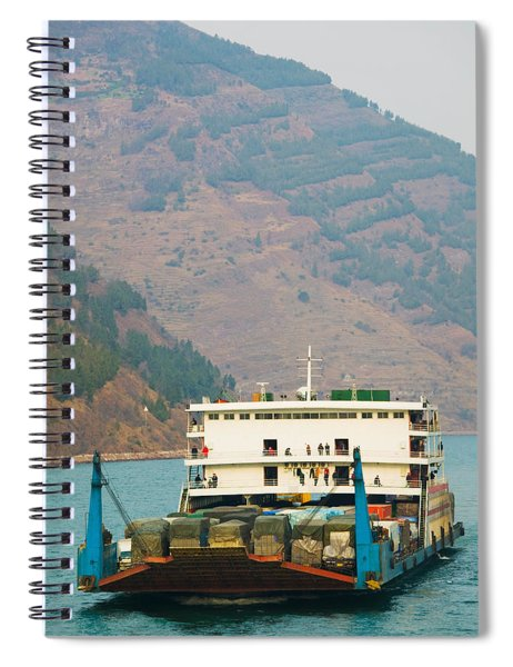 Container Ship In The River Spiral Notebook