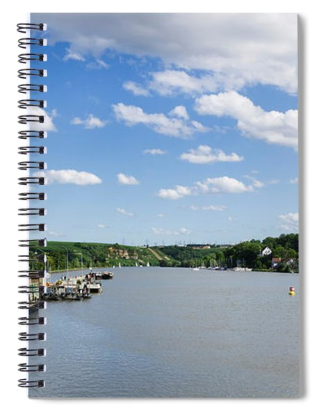 Container Ships At A Canal Lock, Neckar Spiral Notebook