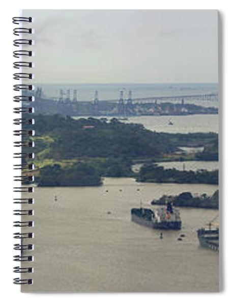 Container Ships In A Canal, Miraflores Spiral Notebook