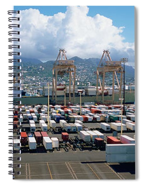Containers And Cranes At A Harbor Spiral Notebook