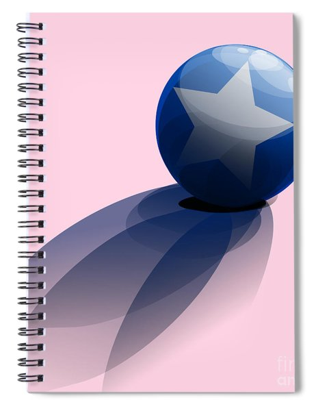 Blue Ball Decorated With Star Spiral Notebook