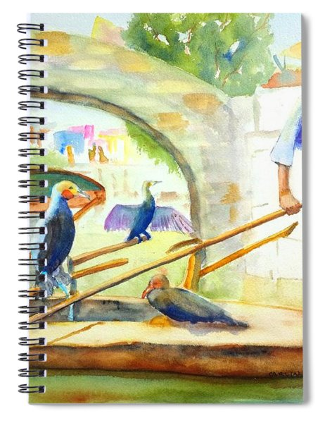 Cormorant Fishing - China Spiral Notebook
