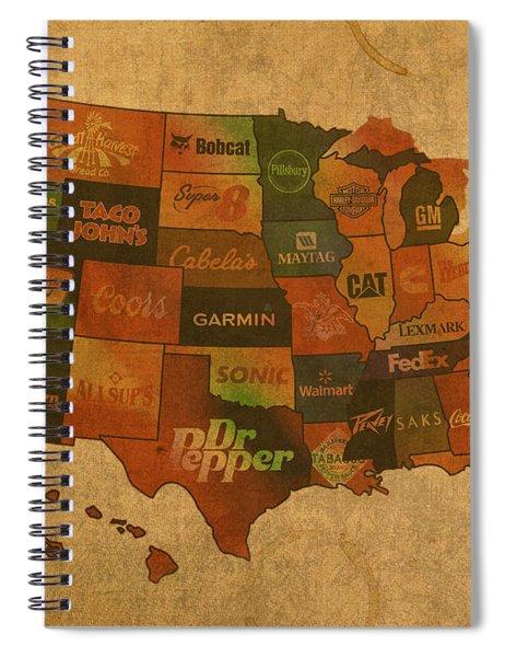 Corporate America Map Spiral Notebook