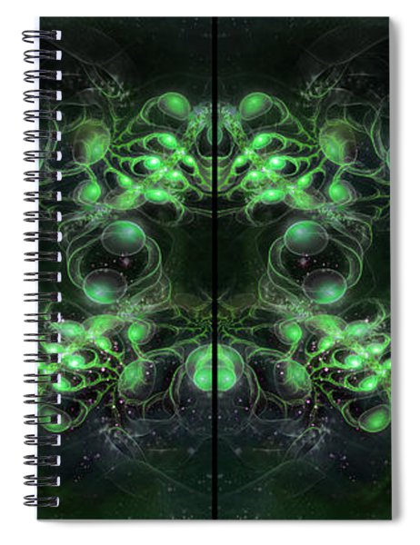 Cosmic Alien Eyes Green Spiral Notebook
