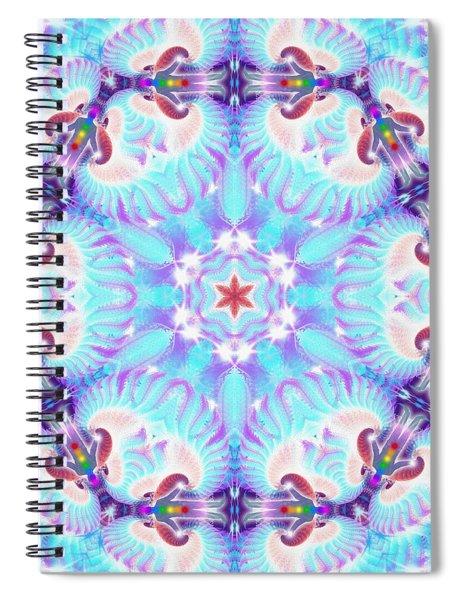 Spiral Notebook featuring the digital art Cosmic Spiral Kaleidoscope 32 by Derek Gedney