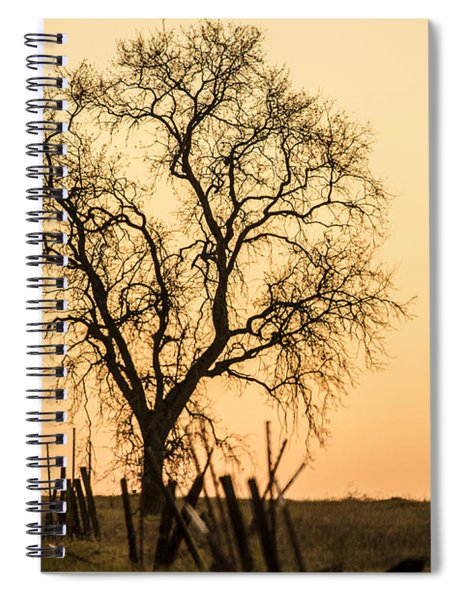 Country Fence Sunset Spiral Notebook