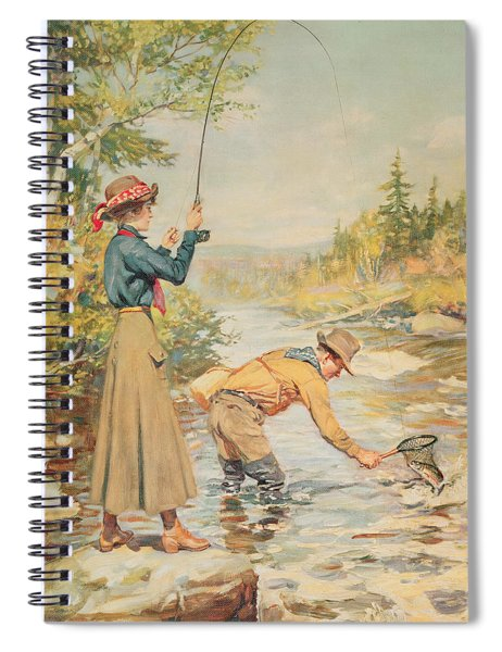 Couple Fishing On A River Spiral Notebook