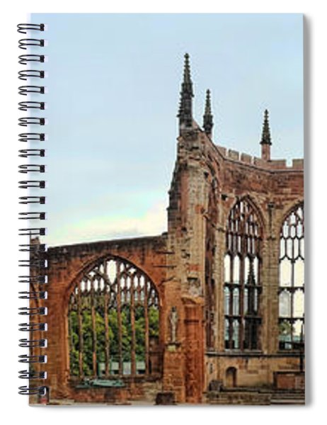 Coventry Cathedral Ruins Panorama Spiral Notebook