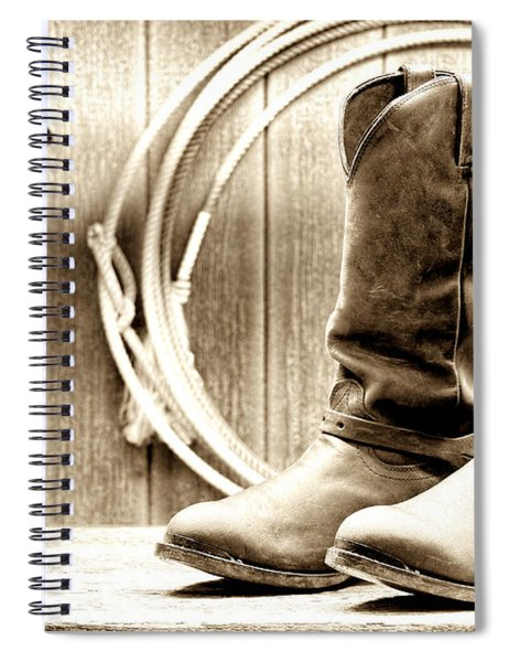 Cowboy Boots Outside Saloon Spiral Notebook by Olivier Le Queinec