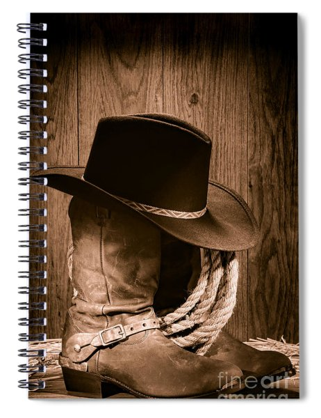 Cowboy Hat And Boots Spiral Notebook by Olivier Le Queinec