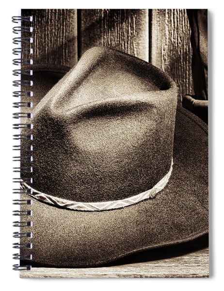Cowboy Hat On Floor Spiral Notebook by Olivier Le Queinec