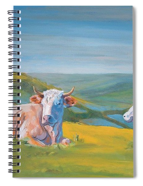 Cows Lying Down Painting Spiral Notebook