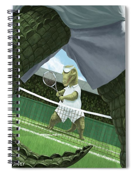 Spiral Notebook featuring the painting Crocodiles Playing Tennis At Wimbledon  by Martin Davey