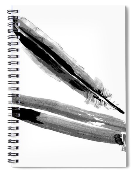 Crow Feather - Raven Feather Watercolor Painting Spiral Notebook