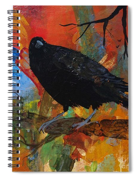 Crow On A Branch Spiral Notebook