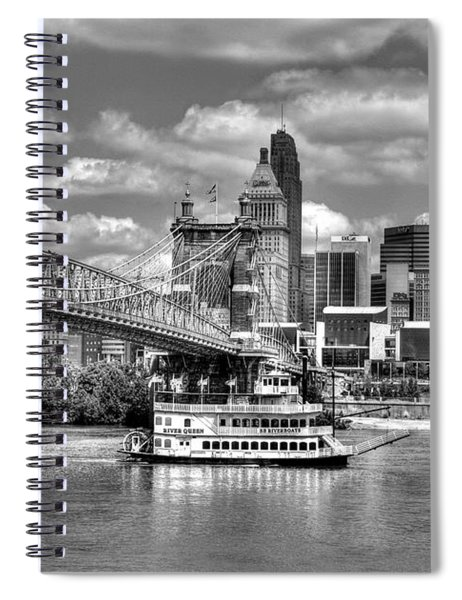 Spiral Notebook featuring the photograph Cruising By Cincinnati 3 Bw by Mel Steinhauer
