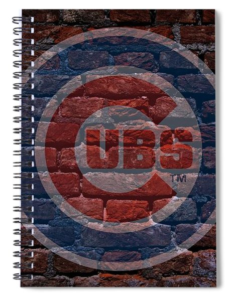 Spiral Notebook featuring the photograph Cubs Baseball Graffiti On Brick  by Movie Poster Prints