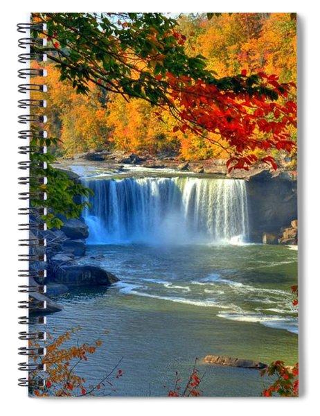 Spiral Notebook featuring the photograph Cumberland Falls In Autumn 2 by Mel Steinhauer