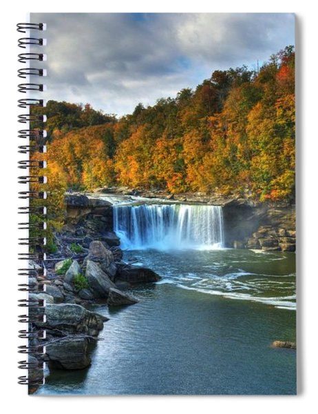 Spiral Notebook featuring the photograph Cumberland Falls In Autumn by Mel Steinhauer
