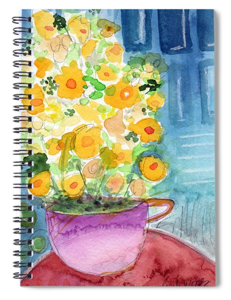 Cup Of Yellow Flowers- Abstract Floral Painting Spiral Notebook