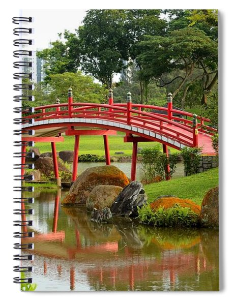 Curved Red Japanese Bridge And Stream Chinese Gardens Singapore Spiral Notebook