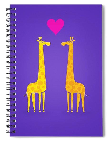Cute Cartoon Giraffe Couple In Love Purple Edition Spiral Notebook