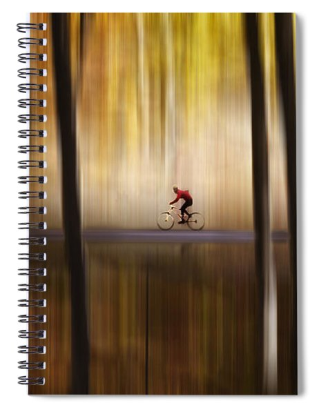 Cyclist In The Forest Spiral Notebook