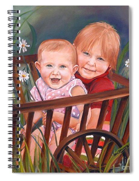 Spiral Notebook featuring the painting Daisy - Portrait - Girls In Wagon by Jan Dappen