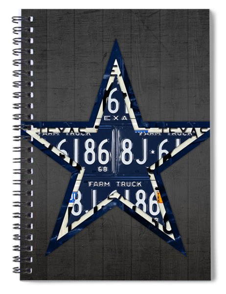 Dallas Cowboys Football Team Retro Logo Texas License Plate Art Spiral Notebook