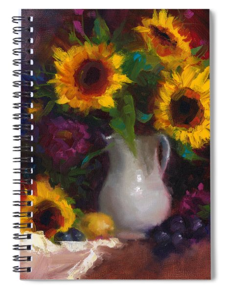Dance With Me - Sunflower Still Life Spiral Notebook