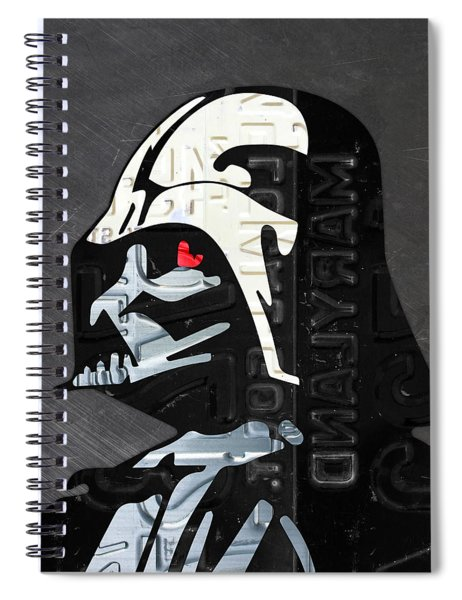 Darth Vader Helmet Star Wars Portrait Recycled License Plate Art Spiral Notebook