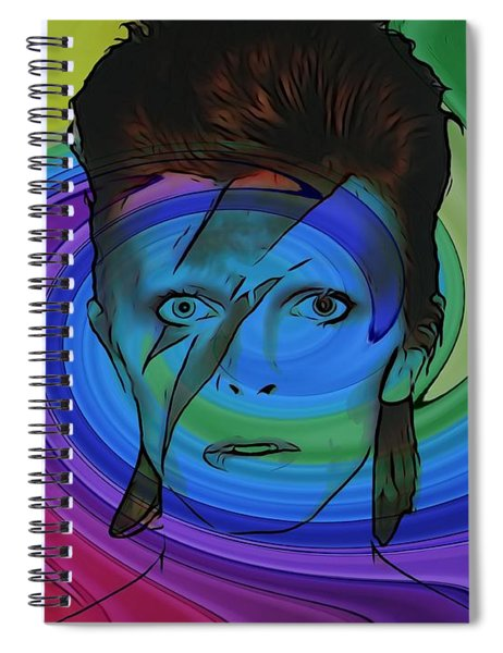 David Bowie Color Swirl Spiral Notebook