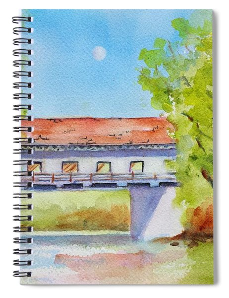 Day Moon Over Covered Bridge Spiral Notebook
