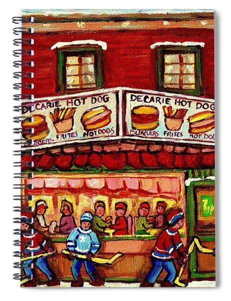 Decarie Hot Dog Restaurant Cosmix Comic Store Montreal Paintings Hockey Art Winter Scenes C Spandau Spiral Notebook