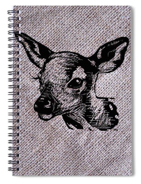 Deer On Burlap Spiral Notebook