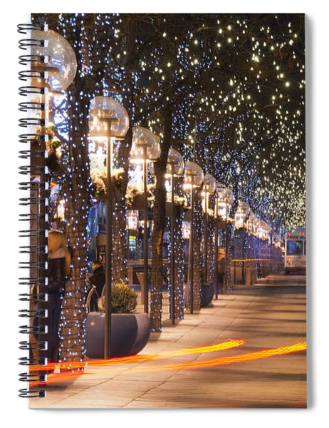 Denver's 16th Street Mall At Christmas Spiral Notebook