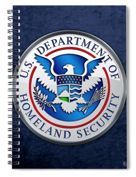 Department Of Homeland Security - D H S Emblem On Blue Velvet Spiral Notebook