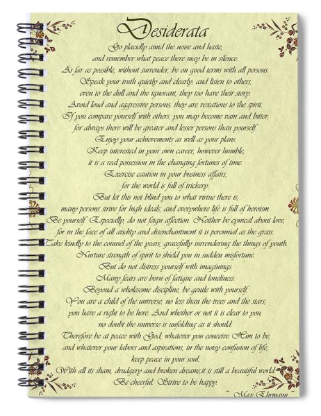 Spiral Notebook featuring the digital art Desiderata Gold Bond Scrolled by Movie Poster Prints