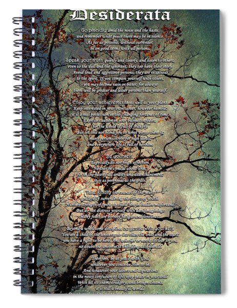 Desiderata Inspiration Over Old Textured Tree Spiral Notebook
