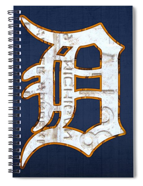 Detroit Tigers Baseball Old English D Logo License Plate Art Spiral Notebook