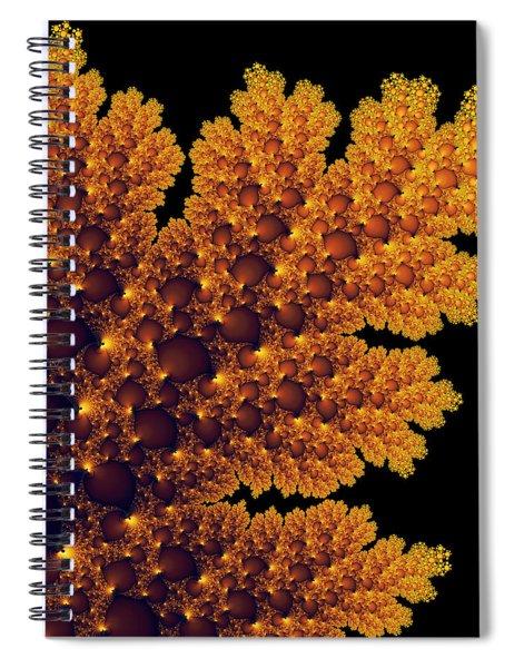 Digital Warm Golden Fractal Leaf Black Background Spiral Notebook