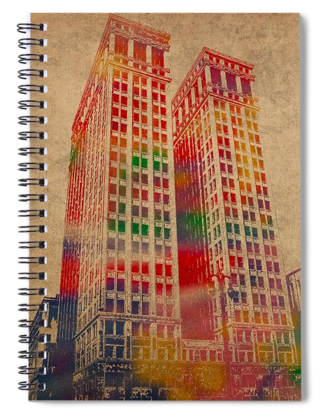 Dime Building Iconic Buildings Of Detroit Watercolor On Worn Canvas Series Number 1 Spiral Notebook