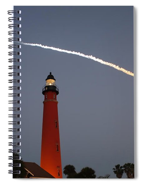 Discovery Booster Separation Over Ponce Inlet Lighthouse Spiral Notebook