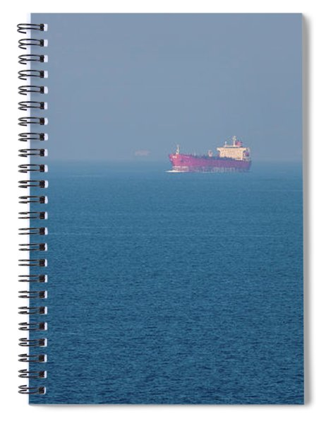 Distant View Of Container Ship In Sea Spiral Notebook