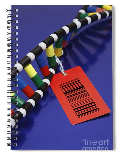 Dna Double Helix With Barcode Spiral Notebook