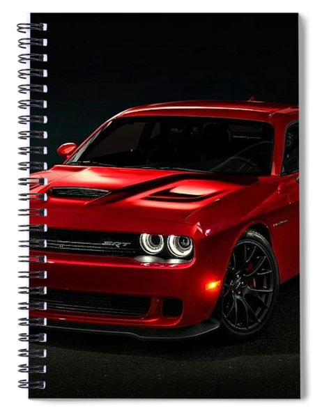 Spiral Notebook featuring the photograph Dodge Challenger S R T Hellcat by Movie Poster Prints