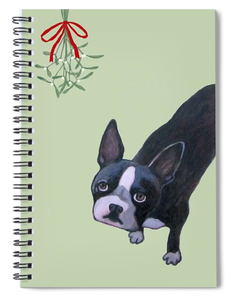 Dog With Mistletoe For Christmas Cards Spiral Notebook