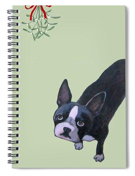 Dog With Mistletoe  Spiral Notebook