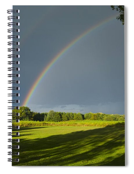 Double Rainbow Over Fields Spiral Notebook