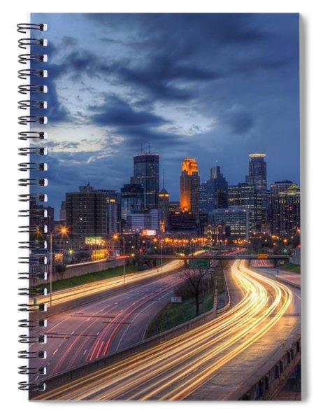 Downtown Minneapolis Skyline On 35 W Sunset Spiral Notebook